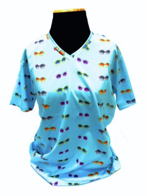 CAMISETA MALHA BABY LOOK Feminino _Gola C_Modelo: BUCCIA cor Azul Claro