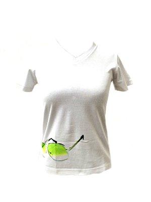 CAMISETA MALHA BABY LOOK Feminino _Gola V_Modelo: IAOL cor Verde