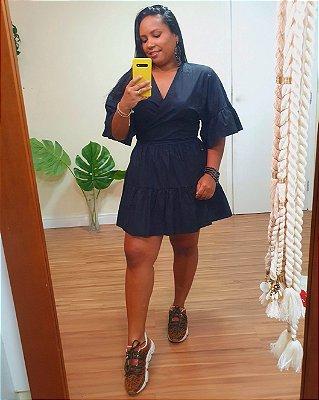 Vestido Curto Algodão Transpassado Preto - Dress To