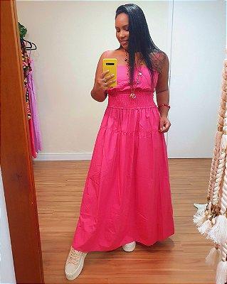 Vestido Algodão Pala Lastex Rosa Pitaiá - Dress To