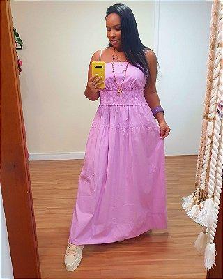 Vestido Algodão Pala Lastex Lilás Lavanda - Dress To
