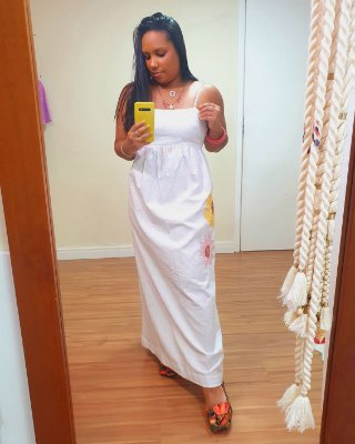 Vestido Longuete Bordado Girassol = Dress To