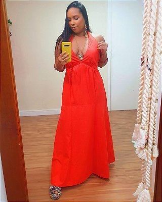 Vestido Algodão Longuete Frente Única Vermelho Dengo - Dress To