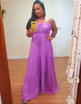 Vestido Enrugado Busto Roxo Entardecer - Dress To