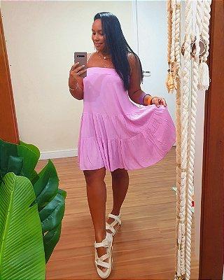 Vestido Curto Crepe Decote Reto Lilás Lavanda - Dress To