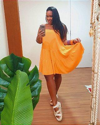 Vestido Curto Crepe Decote Reto Laranja Tangerina  - Dress To