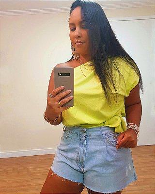 Blusa No Lateral Transpassada Verde Neon - Dress To