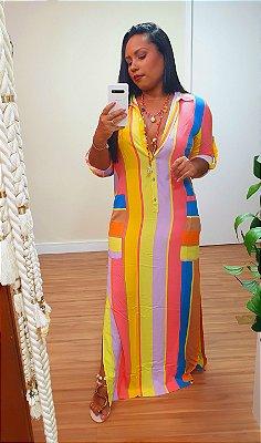 Vestido Chemise Longo Estampa Sunrise Dress to