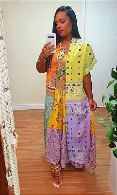 Kimono Estampa Bandana Mix Dress to