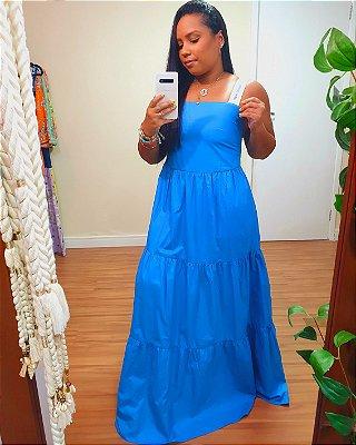 Vestido Longo Algodão Alça Cadarço Azul Moana Dress To