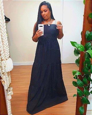 Vestido Longo Algodão Alça Cadarço Preto Dress TO