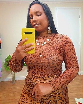 Blusa Segunda Pele Estampa Oncinha de Coração - Dress To