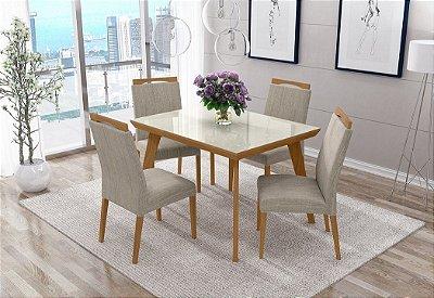 Mesa c/4 cadeiras Munique 1,15m c/tampo vidro off white - Avelã