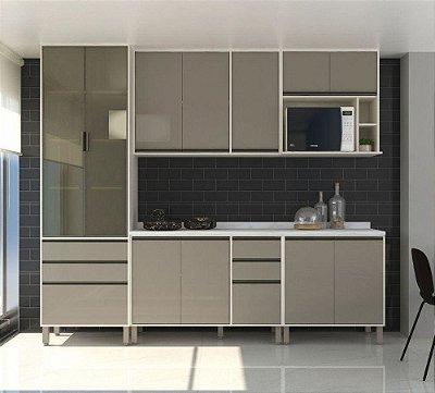 Cozinha Modulada Línea 5 Peças - Cor Patina c/ mocca - Paneleiro Vidro Reflecta, Armários e Balcões