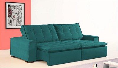 Sofá retrátil e reclinável Lisboa - Tecido suede liso verde