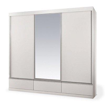 Armário 3 Portas Deslizantes San Marino c/ Espelho Central - Branco
