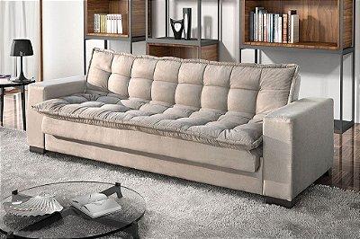 Sofá cama casal reclinável Berlim - Tecido suede liso bege