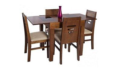 Mesa Elástica c/4 cadeiras Prátika - Imbuia