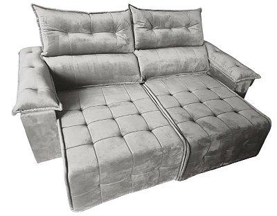 Sofá retrátil e reclinável Porto - Tecido veludo cinza prata