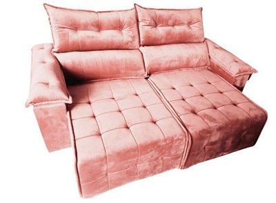Sofá retrátil e reclinável Porto - Tecido veludo rosê