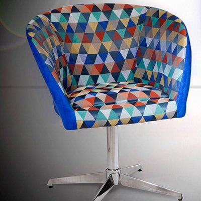 Poltrona decorativa Afrodite - Tecido azul triangular Ref: 2040