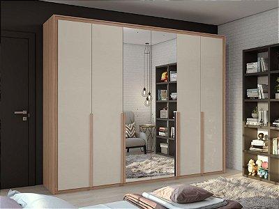 Armário 6 Portas Imperatore c/ espelho 2,74m - Carvalho naturale c/ off white