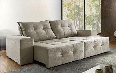 Sofá retrátil e reclinável Miami - Tecido animale creme (bege)