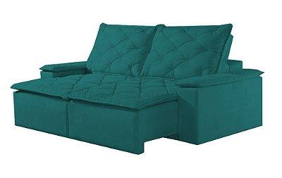 Sofá retrátil e reclinável Tóquio - Tecido suede liso verde