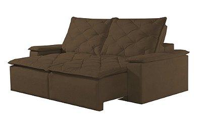 Sofá retrátil e reclinável Tóquio - Tecido animale marrom escuro