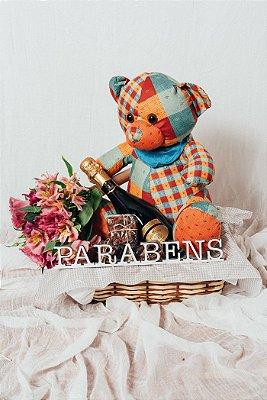 Cesta Espumante, Flores e Urso