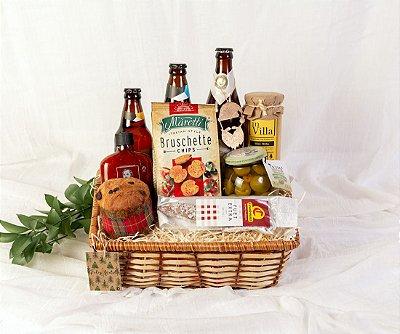Cesta de Natal com Cervejas e Azeitonas Gregas