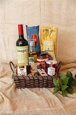 Cesta Vinho, Spaghetti e Molho de Tomate Orgânico