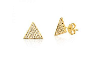 Brinco Triângulo Zircônias Folheado a Ouro 18K