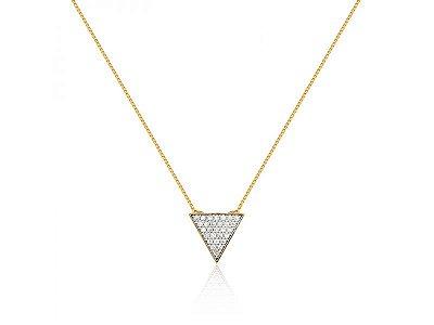 Colar Triângulo com Zircônias Folheado a Ouro 18K.