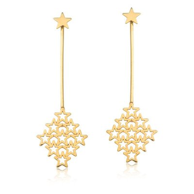 Brinco Estrelas Folheado a Ouro 18k