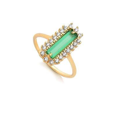 Anel Pedra Verde com Zircônias Folheado a Ouro 18k