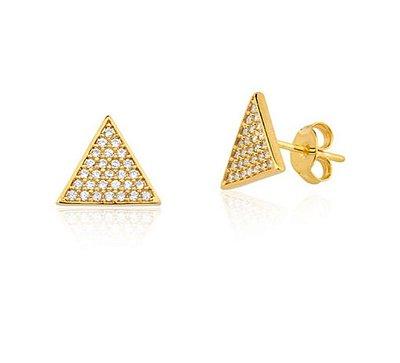 Brinco Triângulo com Zircônias Banho Ouro 18k