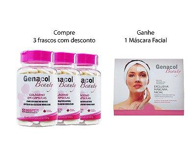 01. COMBO 3 unid- Genacol Beauty Caps (120 cáps x 3) + Frete Grátis + Genacol Beauty Mask