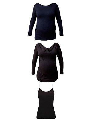 KIT Amamentação Inverno- 1 blusa de sobreposição, 1 Blusa gola boba e 1 Regata Freedom (Preta)