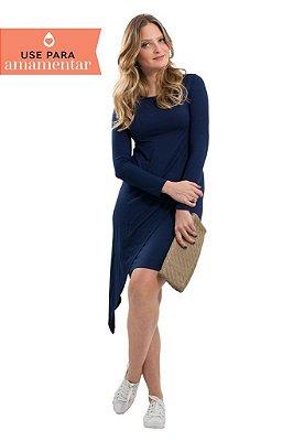 Vestido Assimétrico Azul Marinho