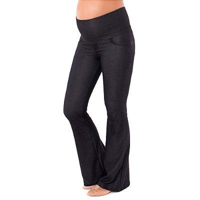 Calça Gestante Flare Jeans de  Moletom - Preta