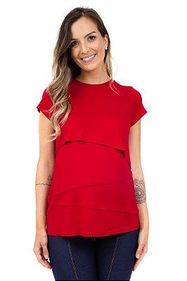 Blusa Amamentação Lauren - vermelho