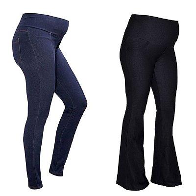 Kit Calças Gestante - 1Legging Jeans de Moletom Índigo + 1 Calça Flare Jeans de Moletom Preta