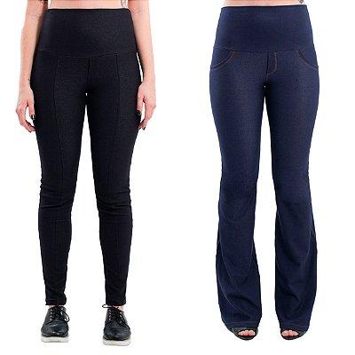 Kit Calças Gestante - 1 Legging Jeans de Moletom Preta + 1 Calça Flare Jeans de Moletom Índigo