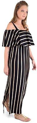 Vestido Manoela Longo – Listrado Preto e Light gold