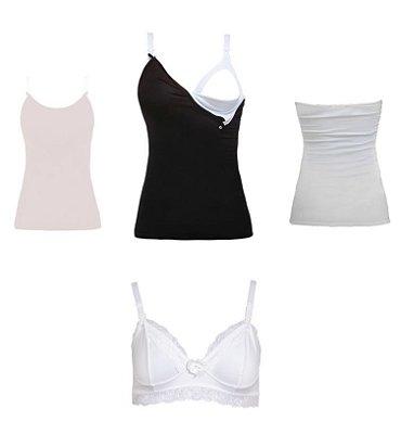 Kit Amamentação - 1 Sutiã Ana Branco + 3 Regatas Freedom, Preta, Nude Rosê e Branca