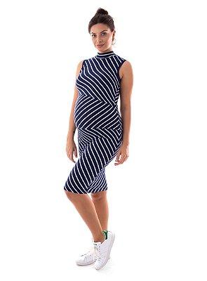 Vestido Amamentação Carmela - Marinho Listras