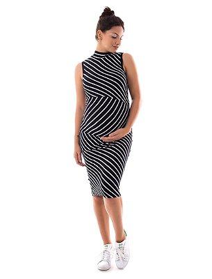 Vestido Amamentação Carmela - Preto Listras