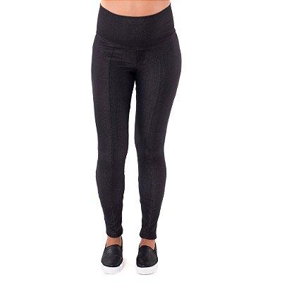 Legging Gestante Jeans de Moletom - Preta