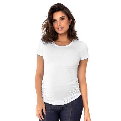 """Camiseta Gestante """"Estica-e-vai"""" - Manga Curta Branca"""